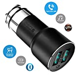 ROIDMI 2S International Version Wireless 5-in-1 Smart In-Car: Bluetooth Music Player - FM Transmitter - USB 2 Dual Ports Car Charger - Handsfree Speakerphone - GPS Nav Audio + APP Settings Control (Black)