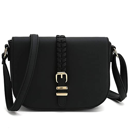 3bdd925f3552 Casual Small Crossbody Saddle Bags for Women Shoulder Purse Designer  Handbags (Black)