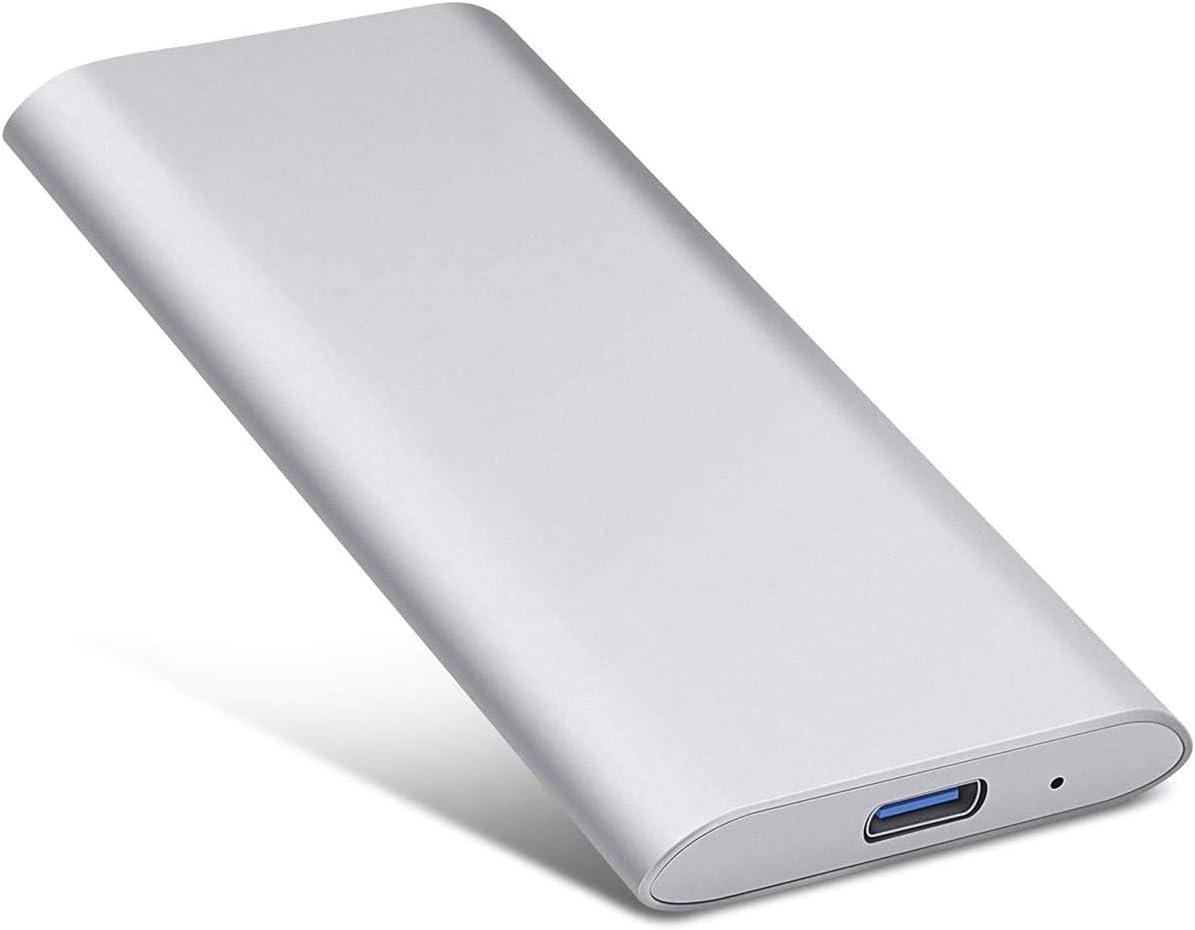 External Hard Drive 1TB 2TB - Portable Hard Drive External HDD for PC Laptop and Mac-Gold (2TB, Silver)