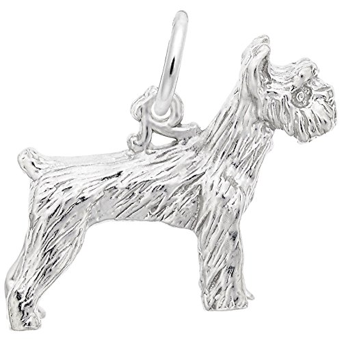 Rembrandt Dog - Schnauzer Dog Charm In Sterling Silver, Charms for Bracelets and Necklaces