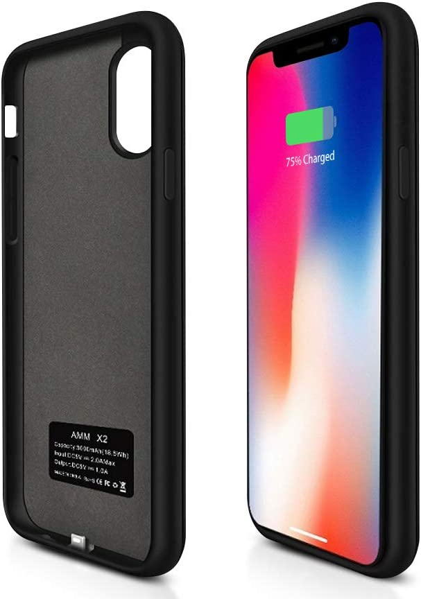 Battery Case for iPhone X iPhone Xs Apple Charging case 5000mAh 5.8 Inches Portable Charger Case Rechargeable Charging Case External Battery Pack for iPhone X iPhone Xs -Black