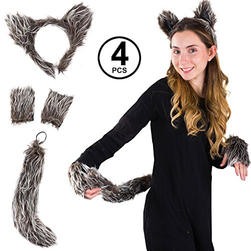 Tigerdoe Ears and Tail S et - Wolf Ears Headband - Animal Costume Accessories (Wolf -