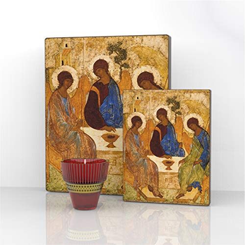 The Holy Trinity. Andrei Rublev Russian Religious Icon Canvas Decor on Wood