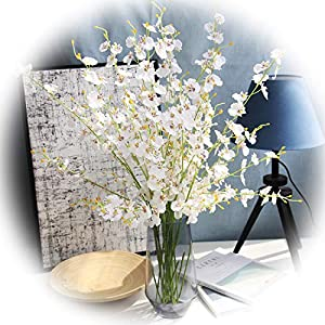 "cn-Knight Artificial Flower 10pcs 39"" Long Stem Silk Dancing Lady Orchid Lifelike Oncidium for Store Window Dressing Lobby Decoration Wedding Home Décor Office Baby Shower Centerpiece(White) 90"