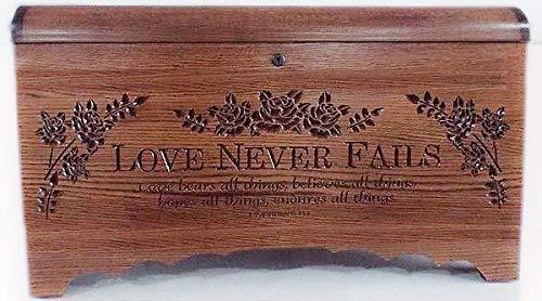 Allamishfurniture Blanket Storage Hope Chest Oak Carved Love Never Fails - Blanket Oak Carved