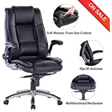 VANBOW High Back Memory Foam Leather Office Chair - Adjustable Tilt Angle and Flip-up Arms Executive Computer Desk Chair, Thick Padding for Comfort and Ergonomic Design for Lumbar Support (Black)