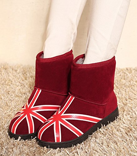 Plates Talons Rouge Aisun Bottines Hiver Chaussures De Femme Confort qOZZHFt