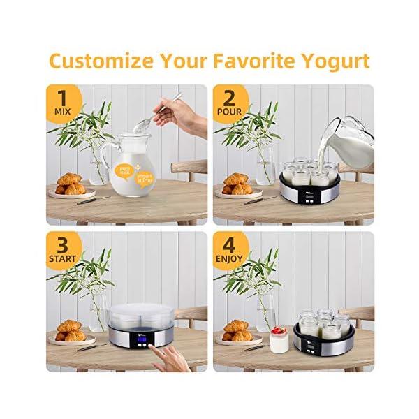 Amzdeal Yogurtiera- Yogurtiera Elettrica con Display LCD e 7 Barattoli di Vetro da 200 ml, Timer di Spegnimento… 6