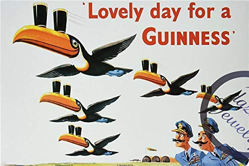 - FemiaD 8 X 12 Novelty Funny Sign Lovely Day for a Guinness Vintage Metal Tin Sign Wall Sign Plaque Poster for Home Bathroom and Cafe Bar Pub, Wall Deco
