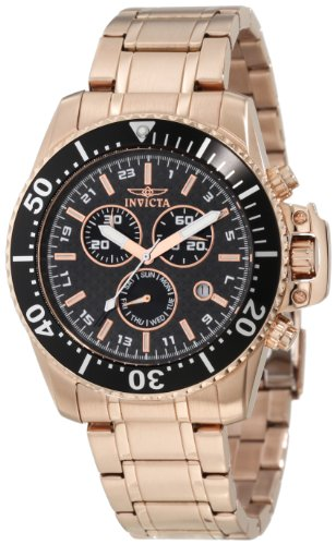Chronograph 18k Rose - Invicta Men's 11289 Pro Diver Chronograph Black Carbon Fiber Dial 18k Rose Gold Ion-Plated Stainless Steel Watch
