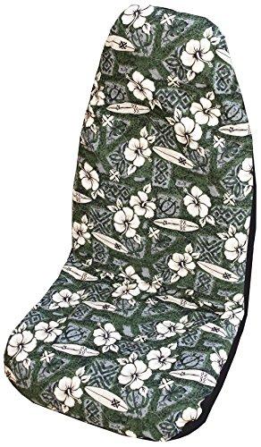 Winnie Fashion Green Hibiscus Surf Hawaiian Car Seat Cover