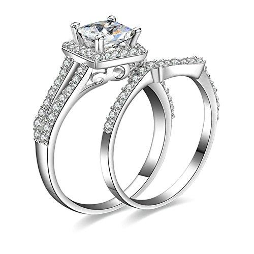 Gentlemans Titanium Diamond Set - Daesar Women Rings Promise Ring Diamond Cubic Zirconia Ring Princess Cut Ring Set Ring Size 11