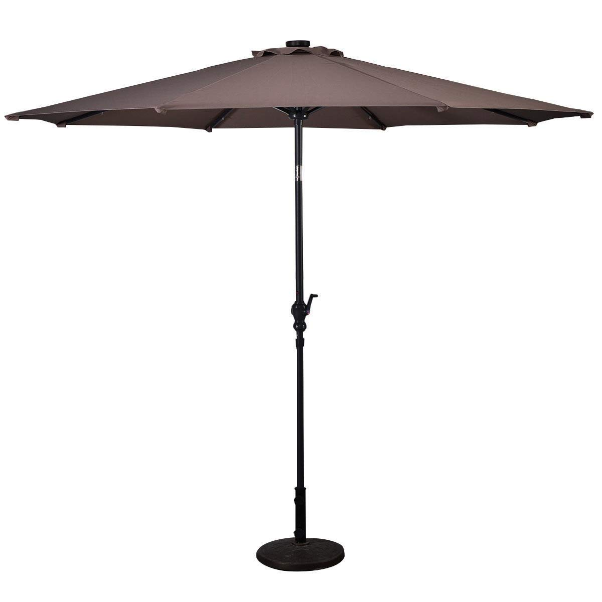 Lucky-gift - Tan 10 ft Patio Solar Umbrella with Crank and LED Lights - Top Outdoor Umbrella with Crank - Uv Protecting Umbrellas Waterproof for Table with Lights Outdoor Cover by Lucky-gift