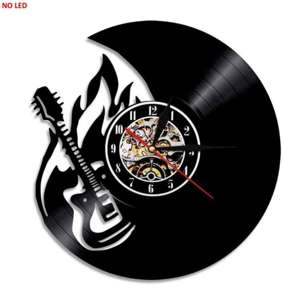 TIANZly Guitarra Hecha a Mano LED Reloj de Vinilo Silueta Luz de ...
