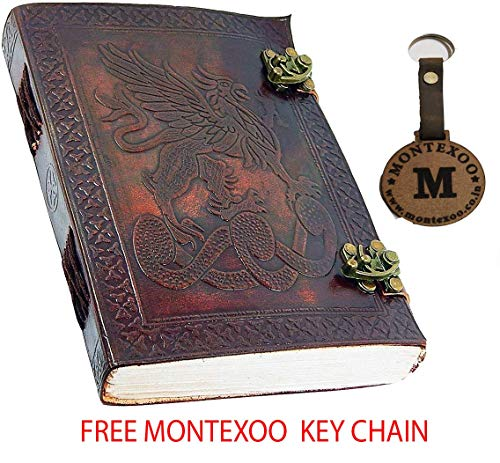 Leather World Ltd. Handmade Leather 6 X 8 Celtic Griffin Leather Journal with Handmade Paper by Leather World -