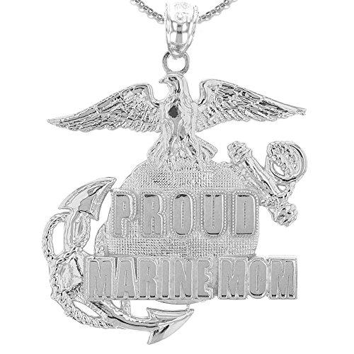 Marine Mom Pendant - U.S. Proud Marine Mom Sterling Silver Insignia Pendant Necklace, 20