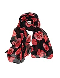 HMILYDYK Womens Gorgeous Poppy Scarf Neck Warm Flower Printing Wrap Stole Shawl Pashmina Ladies Fashion Scarf, Black (90cmX180cm)