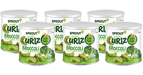 Sprout Organic Baby Food  Sprout Organic Curlz Toddler Snacks  Broccoli  1 48 Ounce Canister  Pack Of 6   Plant Powered  Gluten Free  Usda Certified Organic  Nothing Artificial