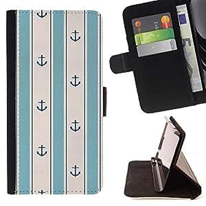 For LG G3 Case , Teal blanco del ancla de la vendimia del papel pintado- la tarjeta de Crédito Slots PU Funda de cuero Monedero caso cubierta de piel