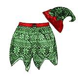 Secret Santa Mens Holiday Sleepwear Jam Shorts and Hat Set (Green, S)