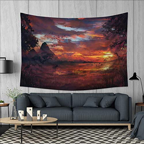 Scenery Tapestry Wall Tapestry Ancient First Age Seemed View with Safari Wild Animals Gazelles and Forest Image Art Wall Decor 60