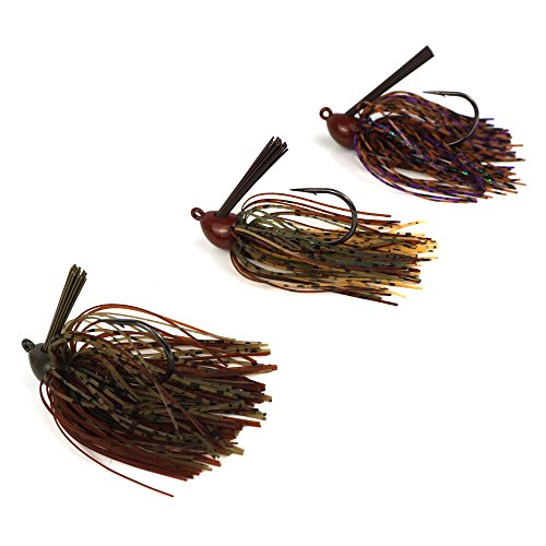 Eupheng Pro Tungsten Screw Lock Jig, Extreme Heavy Cover Jig Unique Design, Chip Resistant Paint, Life Looking Skirt, Environmentally Friendly (3/4 oz, Dark Pumpkin Brown/Camo Craw/PB&J (Powder Paint Jigs)
