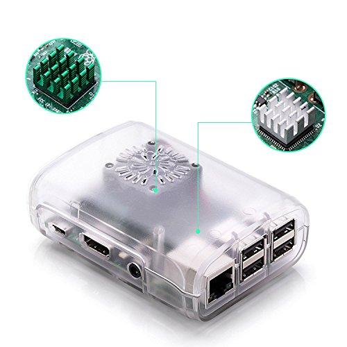 Raspberry Pi 3 Fan Case, Aukru Clear Case with Cooling Fan Heatsink for Raspberry Pi 3 Model B Accessories Pi 2 Model B + Desktop Starter Kit (Transparent Case, Cooling Fan, Heat sink) by Aukru (Image #6)