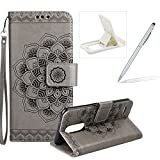Rope Leather Case for LG K4 2017,Strap Wallet Case for LG K4 2017,Herzzer Bookstyle Classic Elegant Mandala Flower Pattern Stand Magnetic Smart Leather Case with Soft Inner for LG K4 2017 + 1 x Free White Cellphone Kickstand + 1 x Free Silver Stylus Pen - Gray