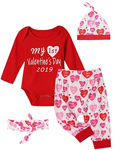 Shalofer My First Valentines Day Outfit Set Baby Girls Boy Cute Romper (Red, 3-6 Months)