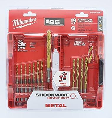 Milwaukee 48-89-4681 Shockwave Titanium Red Helix Drill Bit Set (19-Piece)