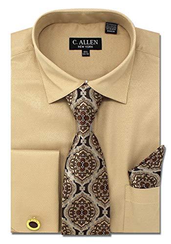- C. Allen Men's Solid Micro Pattern Regular Fit Dress Shirts with Tie Hanky Cufflinks Combo Tan