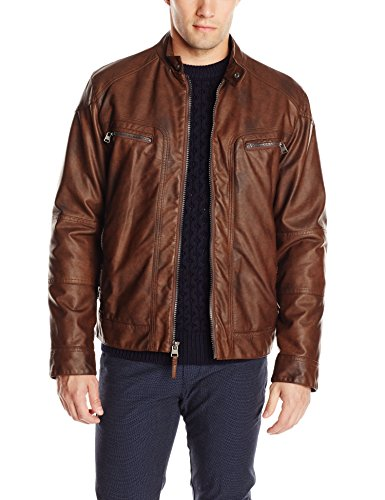 calvin klein men's leather moto jacket with hoodie