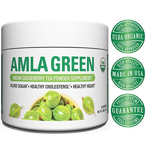 Organic AMLA GREEN Tea Powder - Great Tasting, 20x Concentrated Amla + Oolong Tea Antioxidant Blend - Raw, Vegan, Organic, Non-GMO, Amla Powder