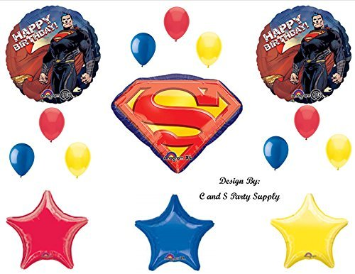 NEW SUPERMAN Man of Steel Super Hero Happy Birthday PARTY Balloons Decorations -