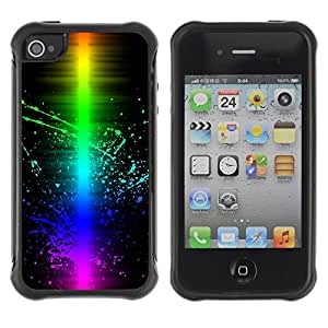 LASTONE PHONE CASE / Suave Silicona Caso Carcasa de Caucho Funda para Apple Iphone 4 / 4S / Colorful Wave Color Splash