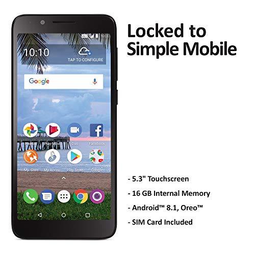 Simple Mobile TCL LX 4G LTE Prepaid Smartphone (Locked) - Black - 16GB - Sim Card Included - GSM (Card Virgin Mobile Used Sim)