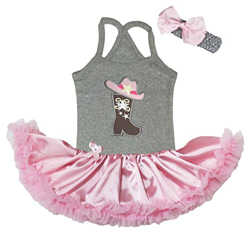 Petitebella Cowgirl Hat and Boot Grey Halter Neck Baby Dress Pink Tutu Nb-24m (0-6 Months)