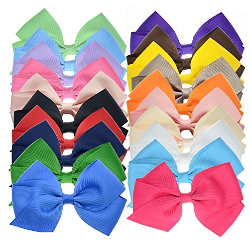Price comparison product image 20 Bulk Ribbon Hair Bows For Girls Pure Color 4.5 Inch