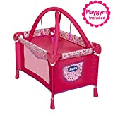 Baby Doll Playard Converts to Baby Doll Playmat, Baby Playpen with Mobile Included, Forup To 18' Baby Dolls, Perfect Gift for Girls 3 Year Old & Up