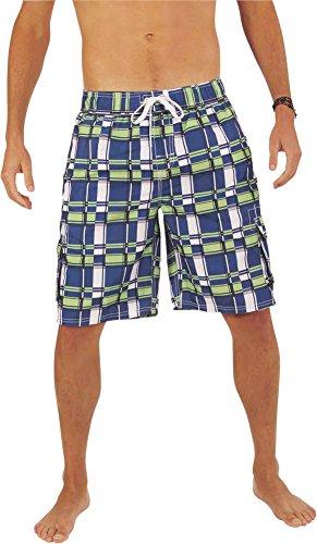 NORTY Swim - Mens Plaid Swim Suit, Royal, Lime 39957-Large ()