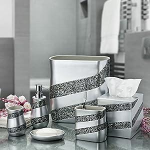 "Dwellza silver Mosaic Soap Dish for Bathroom (5.5"" x 4"" x 1"") – Decorative Dry Bar Holder- Durable Resin Design- Best Dishes for Sink Bath Shower Bathtub Décor (Silver Gray)"