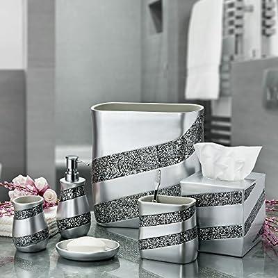 Dwellza Silver Mosaic Bathroom Accessories Set 6 Piece Bath Set Collection Features Soap Dispenser Toothbrush Holder Tumbler Soap Dish Tissue