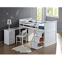 1PerfectChoice Childrens White Wood Pull Out Desk Stairway Staircase Chest Low Twin Loft Bed
