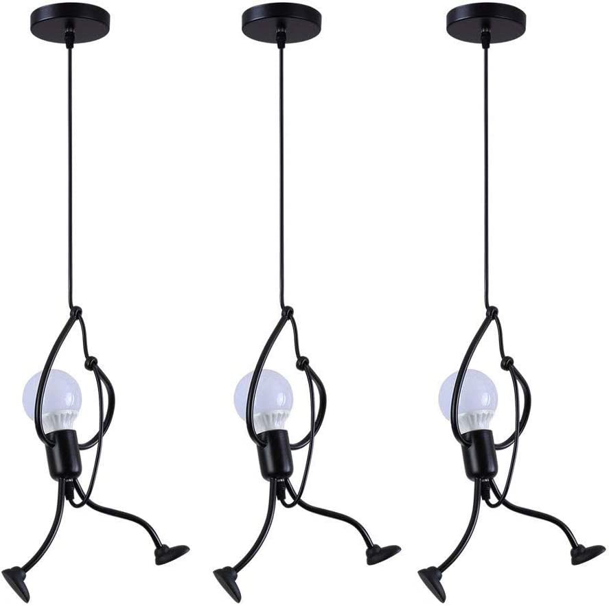 Confezione da 3, Moderno Encantador Colgante de luz Creativo Hierro Gente Caricatura Diseño Lámpara Lámpara de techo para Niños Cuarto Cabecera Sala Balcón Desván estudio Candelabro, E27 , 1 Cabeza