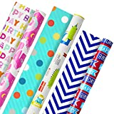 Hallmark Reversible Kids Birthday Wrapping Paper, Monsters and Unicorns (Pack of 3, 120 sq. ft. ttl.): more info