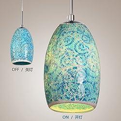 LightInTheBox Decoration Pendant, 1 Light, Tiffany Resin Glass Painting Processing, Modern Home Ceiling Light Fixture Flush Mount, Pendant Light Chandeliers LightingV (Blue)