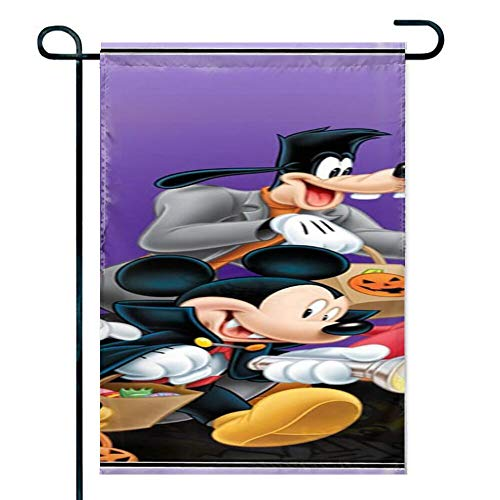 Garden Flag Polyester Yard Flag Summer Decor for Lawn Courtyard Halloween Mickey Mouse and Minnie Mouse Goofy Donald Duck Pluto Disney Halloween Wallpaper 12inch