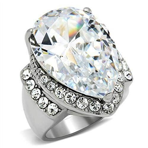 A.Kobanj Fashion Big Clear CZ with Small Clear Stones Stainless Steel Ring Sz.5-10 (9)