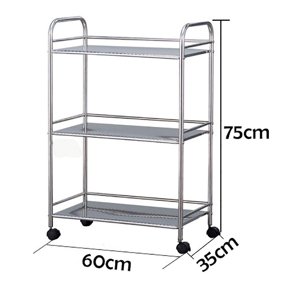 L-603575cm XQY Hospital Trolley, Medical Supplies Rack-Medical Cart Tool 3 Tier Beauty Salon Rolling Cart, Kitchen Storage Rack with Universal Brake Wheel, Stainless Steel Medical Equipment Trolley,S-403575cm