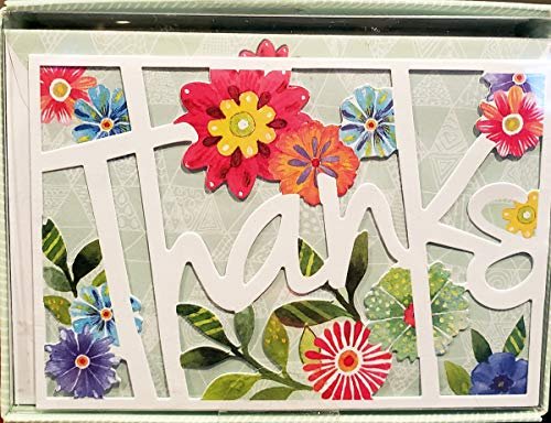 Molly & Rex Window Boxed Floral Laser Cut Thank You Note Cards 13731, Set of 10